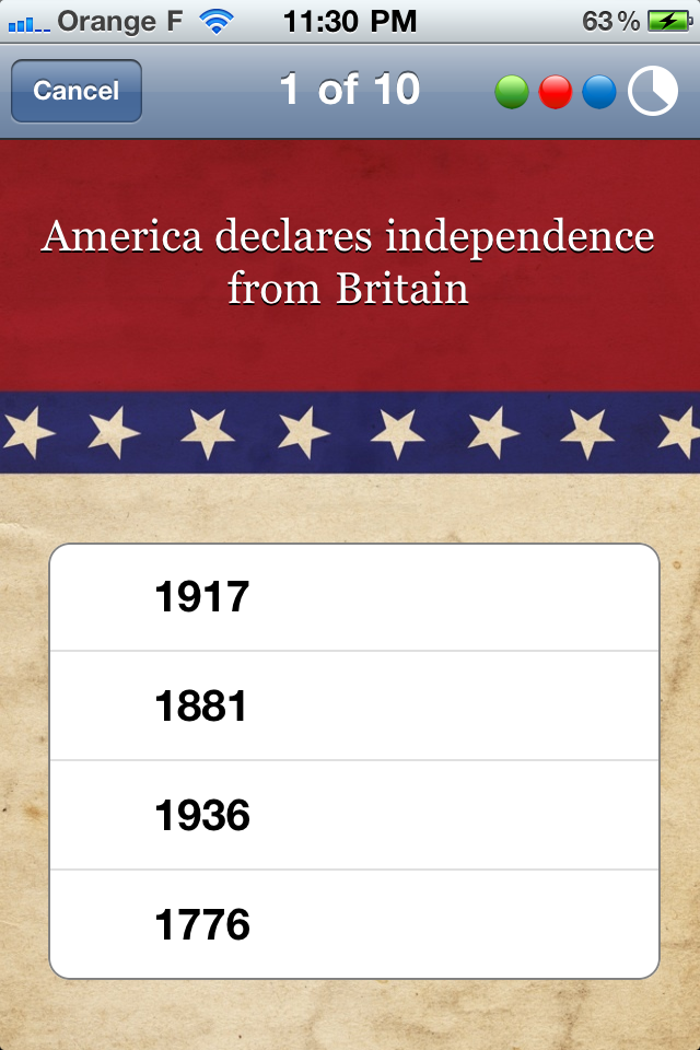 Screenshot US History – A Tap N'Learn Game